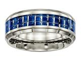 <b>Engravable</b> Chisel Titanium Polished Blue/white Carbon Fiber Inlay Ring style: TB465