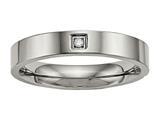 <b>Engravable</b> Chisel Titanium Polished Flat Comfort Back CZ Ring style: TB468