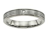 Chisel Titanium Polished Grooved Comfort Back CZ Ring style: TB470