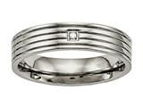 Chisel Titanium Polished Grooved Comfort Back CZ Ring style: TB474