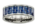 <b>Engravable</b> Chisel Titanium Polished W/ Blue Carbon Fiber Ring style: TB478