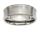 <b>Engravable</b> Chisel Titanium Beveled Edge Concave 8mm Brushed and Polished Wedding Band style: TB47