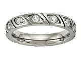 Chisel Titanium Polished Grooved CZ Ring style: TB483