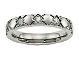 Chisel Titanium Polished Criss Cross Grooved CZ Ring style: TB485