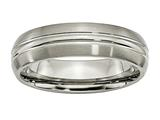 <b>Engravable</b> Chisel Titanium Grooved 6mm Brushed And Polished Weeding Band style: TB48