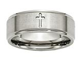 <b>Engravable</b> Chisel Titanium Ridged Edge Cross 8mm Brushed And Polished Wedding Band style: TB78