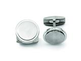 <b>Engravable</b> Chisel Titanium Brushed and Polished Cuff Links style: TBC108