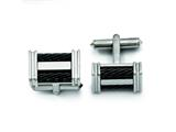 Chisel Titanium Black Ip-plated Wire Cuff Links style: TBC116