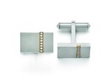 Chisel Titanium Brushed Yellow Ip-plated Czs Rectangular Cuff Links style: TBC117