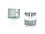 Chisel Titanium Brushed And Polished Clear Cz Cuff Links style: TBC119