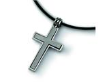 Chisel Titanium with Leather Cord Cross Necklace - 18 inches style: TBN100