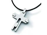 Chisel Titanium with Leather Cord Cross Necklace - 18 inches style: TBN106