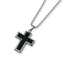 Chisel Titanium Carbon Fiber Cross Necklace - 22 inche Stainless steel chain style: TBN113