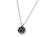 Chisel Titanium with Black Enamel and Diamond Necklace - 24 inches style: TBN122