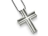 Chisel Titanium Polished Cross Necklace 24 inch Stainless steel chain style: TBN15424