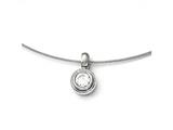 Chisel Titanium Cz Pendant With Polished Stainless Steel Wire Necklace style: TBN17817