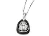 Chisel Polished Ceramic With CZ Titanium Pendant On Steel Necklace style: TBN17918