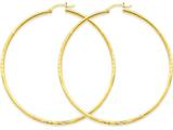 14k Satin and Bright-cut 2mm Round Tube Hoop Earrings style: TC218