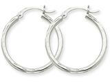 14k White Gold Bright-cut 2mm Round Tube Hoop Earrings style: TC221