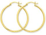 14k Bright-cut 2mm Round Tube Hoop Earrings style: TC230
