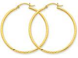 14k Bright-cut 2mm Round Tube Hoop Earrings style: TC236