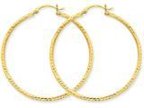 14k Bright-cut 2mm Round Tube Hoop Earrings style: TC237