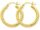 14k Bright-cut 3mm Round Hoop Earrings style: TC265