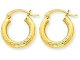 14 kt Yellow Gold Bright-cut 3mm Round Hoop Earrings style: TC267