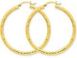 14k Bright-cut 3mm Round Hoop Earrings style: TC270