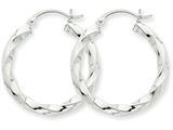 14k White Gold 3mm Twisted Hoop Earrings style: TC358