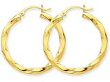 14k Polished 3mm Twisted Hoop Earrings style: TC361