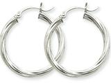 14k White Gold Polished 3.25mm Twisted Hoop Earrings style: TC374