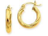 14k Polished 2.75mm Twisted Hoop Earrings style: TC387