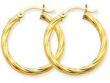 14k Polished 3.25mm Twisted Hoop Earrings style: TC389
