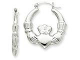 14k White Gold Claddagh Hoop Earrings style: TC502