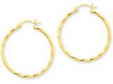 14k Yellow Gold Twist Polished Hoop Earring style: TC671