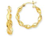14 kt Yellow Gold 4.00mm Twisted Hoop Earrings style: TE216