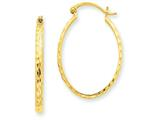 Finejewelers 14k Yellow Gold Lightweight Bright-cut Oval Hoop Earrings style: TE513