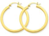 14 kt Yellow Gold 3mm Polished Square Hoop Earrings style: TE539