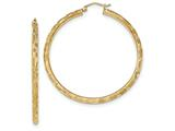 14 kt Yellow Gold Textured Hoop Earrings style: TF560