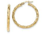 14k Polished/textured Post Hoop Earring style: TF602