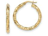 14k Polished/textured Post Hoop Earring style: TF603