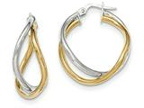 14k Two-tone Polished Post Hoop Earring style: TF609