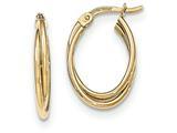 14k Gold Polished Oval Hoop Earrings style: TF617