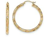 Finejewelers 14k Yellow Gold Tri-color Textured Hoop Earrings style: TF619