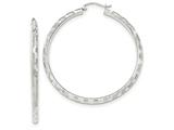 14k White Gold Textured Hoop Earrings style: TF627