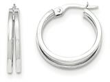 14k White Gold Polished Post Hoop Earring style: TF637