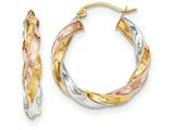 14k Tricolor Light Twisted Hoop Earrings style: TF653