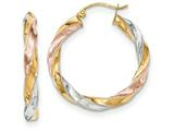 14k Tricolor Light Twisted Hoop Earrings style: TF654