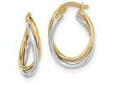 Finejewelers 14 kt Two Tone Gold Polished Oval Hoop Earrings style: TF656